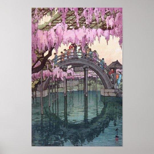 亀戸天神, Kameido Bridge, Hiroshi Yoshida, Woodcut Poster