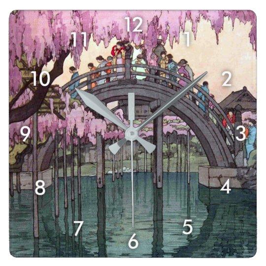 亀戸天神, Kameido Bridge, Hiroshi Yoshida, Woodcut Square Wall Clock