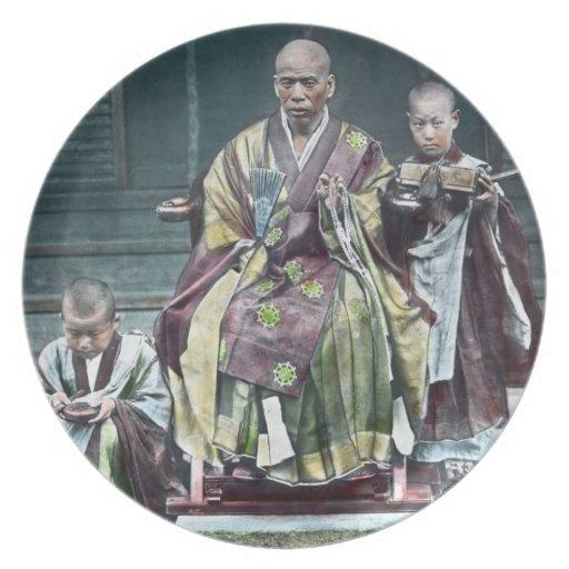 僧 japonais vintage du Japon de moines bouddhistes Assiette Pour Soirée