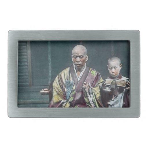 僧 japonais vintage du Japon de moines bouddhistes Boucles De Ceinture Rectangulaires