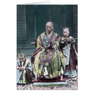 僧 japonais vintage du Japon de moines bouddhistes Carte De Vœux