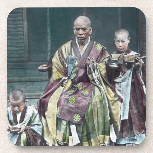 僧 japonais vintage du Japon de moines bouddhistes Sous-bocks