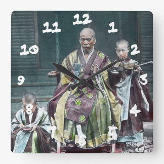 僧 japonais vintage du Japon de moines bouddhistes Horloge Carrée