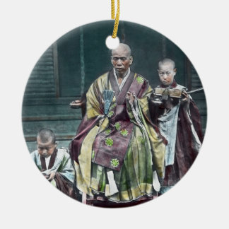 僧 japonais vintage du Japon de moines bouddhistes Ornement Rond En Céramique