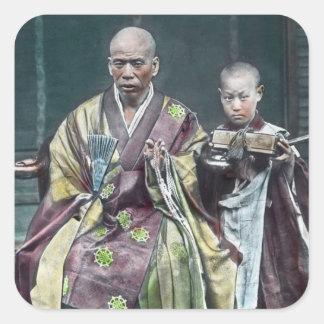 僧 japonais vintage du Japon de moines bouddhistes Sticker Carré