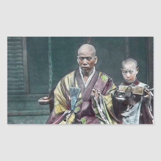 僧 japonais vintage du Japon de moines bouddhistes Sticker Rectangulaire
