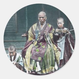 僧 japonais vintage du Japon de moines bouddhistes Sticker Rond