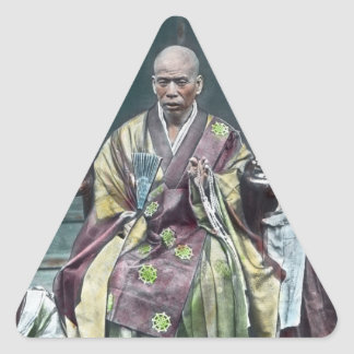 僧 japonais vintage du Japon de moines bouddhistes Sticker Triangulaire