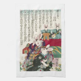 兎の歌舞伎役者, 芳藤 Actors of Rabbit, Yoshifuji, Ukiyo-e Kitchen Towel