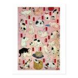其のまま地口猫飼好五十三疋(中), 国芳 Cats(2), Kuniyoshi, Ukiyo-e Post Cards