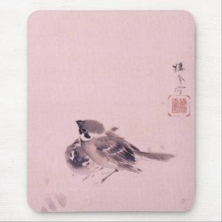 双雀, 栖鳳 Pair of The Sparrow, Seihō, Japanese Art Mouse Pad