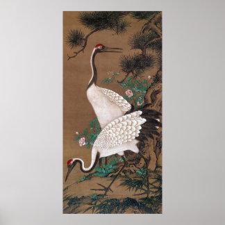 双鶴図, 渡辺秀石 Cranes, Watanabe Shuseki Poster