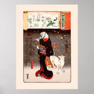 國芳 Woman & Dog in Snow Kuniyoshi Fine Art Poster