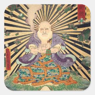 奇術師, 豊国 Magician, Toyokuni, Ukiyo-e Square Sticker