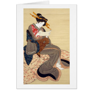 女, 国貞 Woman, Kunisada, Ukiyo-e Greeting Card