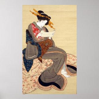 女 国貞 Woman Kunisada Ukiyo-e Poster