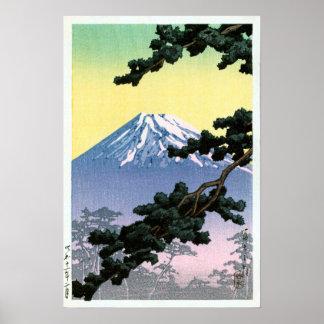 富士山, Mount Fuji, Hasui Kawase, Woodcut Poster