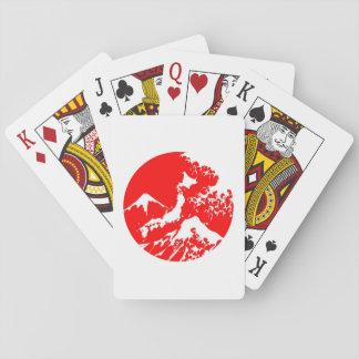 富士山 Mount Fuji Japan Red Print Artistic Playing Cards