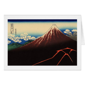 山下白雨, 北斎 Thunder and Mount Fuji, Hokusai, Ukiyo-e Card
