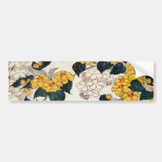山吹, 北斎 Yellow Flower, Hokusai, Ukiyo-e Bumper Sticker
