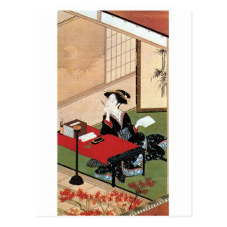 手紙を書く女, 春章 Woman Writing a Letter, Shunsho Postcard