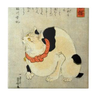 日本猫, 国芳 Japanese Cat, Kuniyoshi, Ukiyo-e Ceramic Tiles