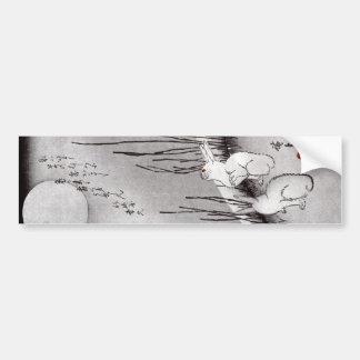 月に兎, 広重 Moon and Rabbits, Hiroshige, Ukiyo-e Bumper Sticker