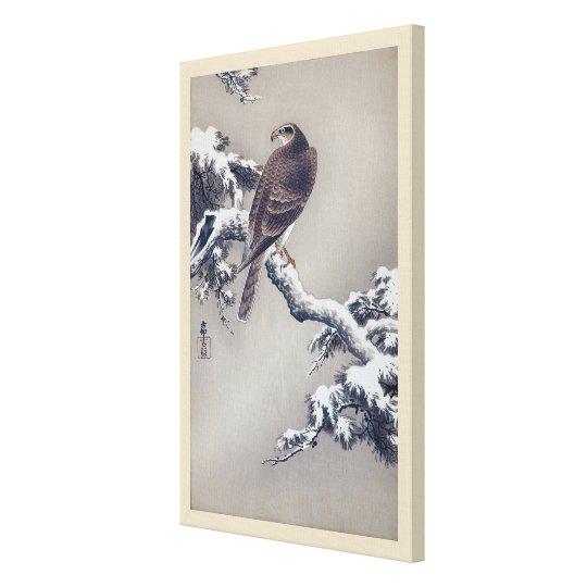 松に鷹, 古邨 Hawk on Pine tree, Ohara Koson, Woodcut Canvas Print