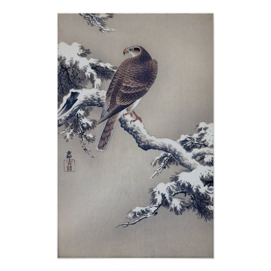 松に鷹, 古邨 Hawk on Pine tree, Ohara Koson, Woodcut Poster