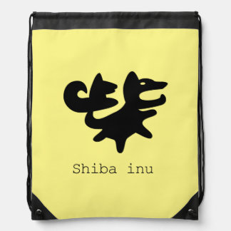 柴 Japanese character letter style shiba inu Drawstring Bag