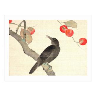 柿に烏, 抱一 Persimmon and Crow, Hōitsu Postcard