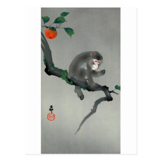 柿に猿, 古邨 Monkey on Persimmon tree, Ohara Koson Postcard