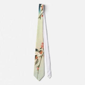 桃の花に燕, 広重 Peach Blossom and Swallow, Hiroshige Tie