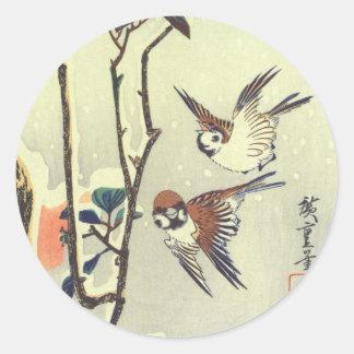 椿に雀, 広重 Camellia and Sparrow, Hiroshige, Ukiyo-e Classic Round Sticker