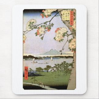 江戸の桜, 広重 Cherry Blossoms of Edo, Hiroshige Mouse Pad