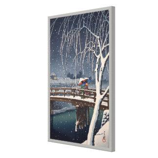 江戸川の宵雪, Evening Snow at Edogawa, Hasui Kawase Canvas Print
