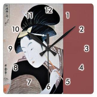 深く忍恋,歌麿 Deeply Hidden Love, Utamaro, Ukiyoe Square Wall Clock