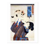 猫と女, 国芳 Cat and Woman, Kuniyoshi, Ukiyo-e Postcard
