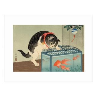 猫と金魚, chat de 古邨 et poisson rouge, Koson, Ukiyo-e Cartes Postales