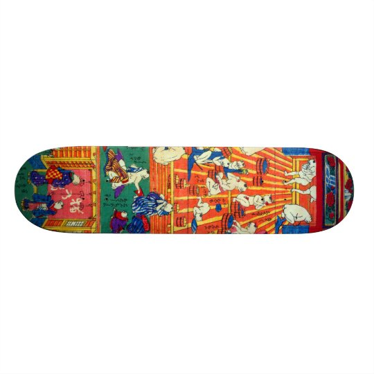 猫のおぶうや, 作者不詳 Hot spring of The Cat, Author unknown Custom Skate Board