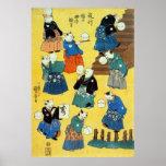 猫の曲芸師, 国芳 Acrobat of the Cats, Kuniyoshi, Ukiyo-e Print