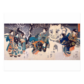 猫の雪だるま,国芳 Snowman of big Cat, Kuniyoshi, Ukiyo-e Postcard