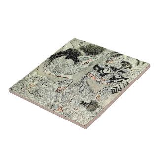 猫, 暁斎 Cats, Kyōsai, Ukiyo-e Ceramic Tiles