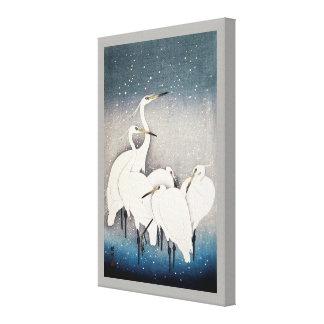 白鷺の群れ, 古邨 Group of Egrets, Ohara Koson, Woodcut Canvas Print