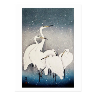 白鷺の群れ, 古邨 Group of Egrets, Ohara Koson, Woodcut Postcard