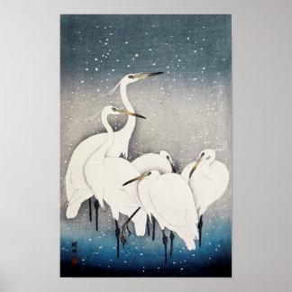 白鷺の群れ, 古邨 Group of Egrets, Ohara Koson, Woodcut Poster