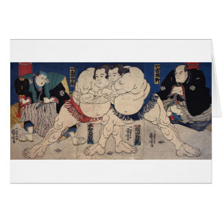 相撲, 国芳 Sumo Wrestling, Kuniyoshi, Ukiyo-e Card