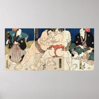 相撲, 国貞 Smou wrestling, Kunisada Poster