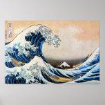 神奈川沖浪裏, 北斎 Great Wave, Hokusai, Ukiyo-e Poster