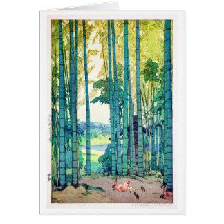 竹林, Bamboo grove, Hiroshi Yoshida, Woodcut Card